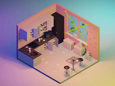 Quarantine Life low poly isometric kitchen interior design vector 3d 3d animation room virus stay home covid-19 quarantine coronavirus blue blender animation behance after effects illustration
