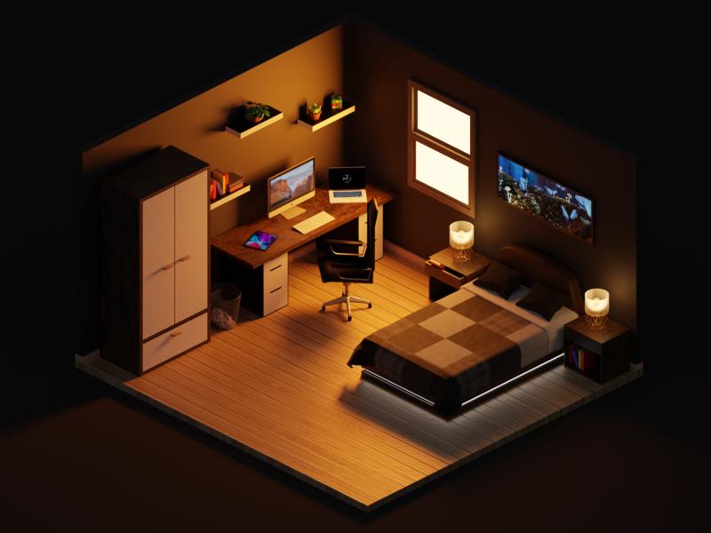 Isometric Room room vibe morning low poly isometric interior game design bedroom 3d art blender design behance illustration
