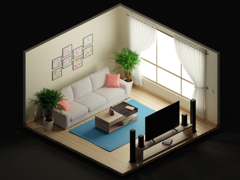 Isometric room 3d living room room isometric design design blender art behance illustration isometric
