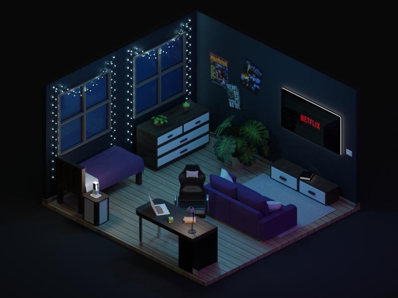 Isometric room art design behance illustration room low poly blender 3d game design isometric room isometric design isometric art