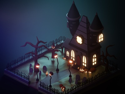 3D Halloween 2020 art illustration adobe behance halloween design 3d art game design pumpkin spooky low poly blender isometric 3d halloween