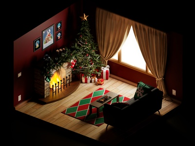 Isometric Christmas room design low poly game design gamedev 3d art isometric art christmas 3d model isometric design 3d behance blender illustration