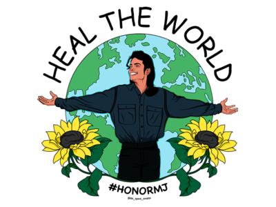 #HonorMJ design sunflowers illustrator adobe procreate charity illustration graphic design t-shirt design heal the world earth planet michael jackson