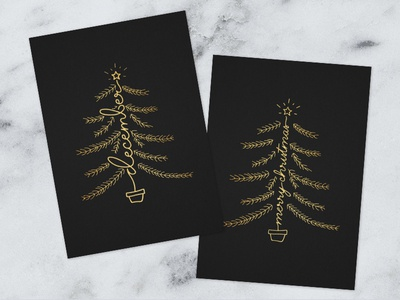 Christmas postcards handlettering christmastree gold typography lettering handlettering