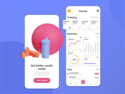 Fitness App sport illustration 3d cards clean fintess gym mobile ui activity mobile blender