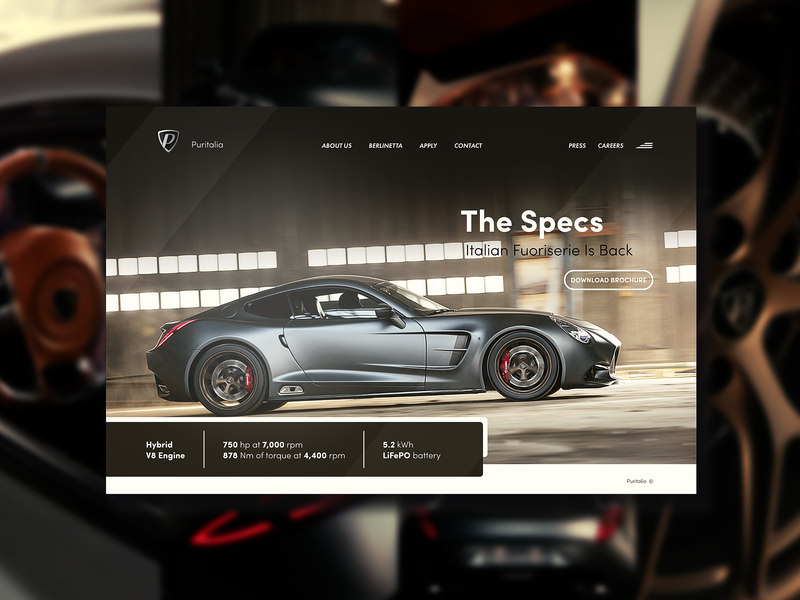 Puritalia Berlinetta - Concept Webpage by Vignesh V on Dribbble