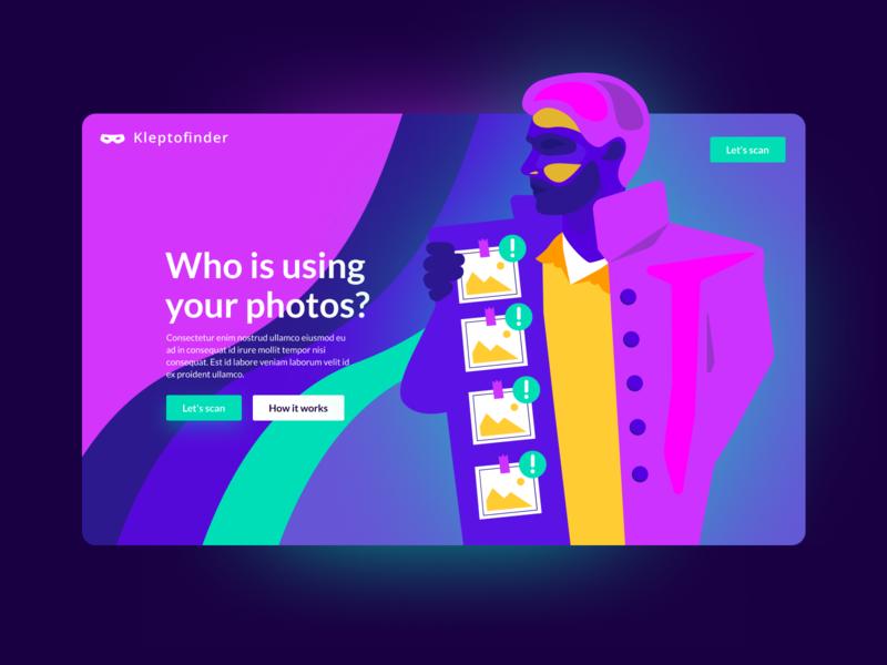 Kleptofinder 2d design interface webdesign colorful colors vector illustration ui character