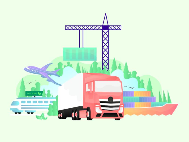 Transportation illustrator illustration art aeroplane ecology truck shipping train transport transportation