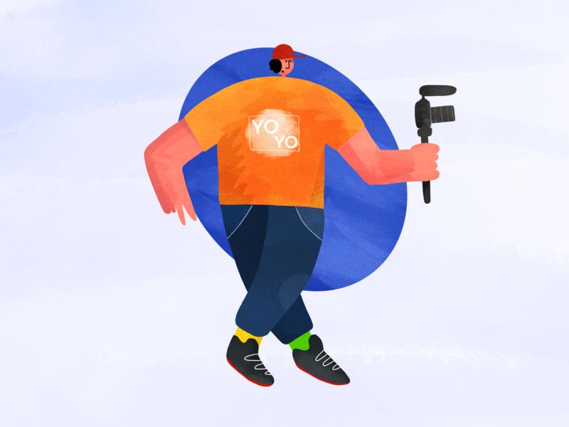 Filmmaker character art stylization film camera character creation design illustration character