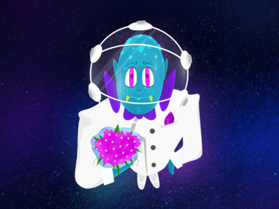 Flowers from the space present gift gift card monster club monster cosmos procreate space design space design 2d character illustration