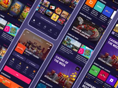 CasinoGuide app. Main screens