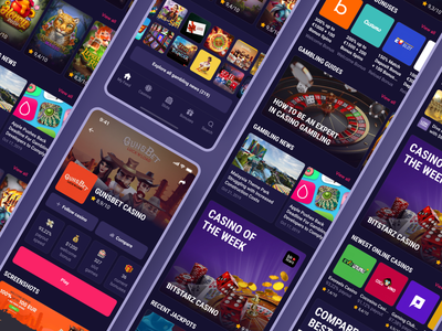 CasinoGuide app. Main screens gambling ux design dark layout slot machine game slot casino figma mobile app mobile app design ui design ui ux ux ui