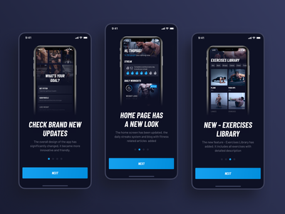 30 Day Fitness Challenge App Redesign. Onboarding screens redesign dark app sport workout figma dark mode dark ui fitness app fitness dark layout ui design ui design