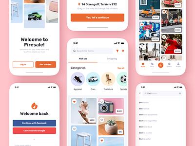 Firesale. Local Marketplace App shopping uidesign ui  ux purchasing selling ecommerce app ecommerce marketplace application app design mobile ux layout ui design ui design