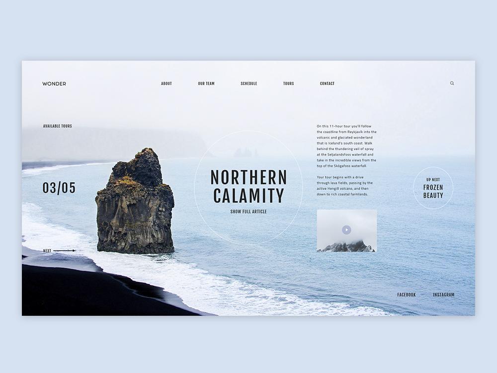 Travel Blog Concept - Iceland mist blue travel blog volcano rock beach ocean iceland blog travel adobe xd ui design concept design ui