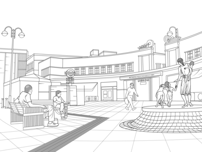 Uxbridge Station Line art
