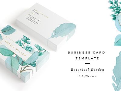 Botanical Garden I Business Card elegant minimal template cards businesscards business garden botanical icon design logo illustration
