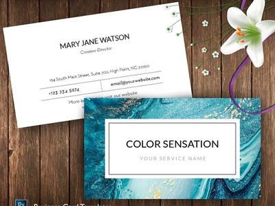 Abstract Ocean Name Card – ID55 water color white indesign minimal icon illustration template logo elegant design cards businesscards business