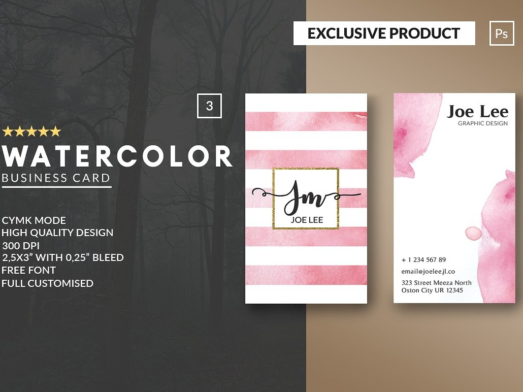 Personal Watercolor Business Card By Business Cards Dribbble