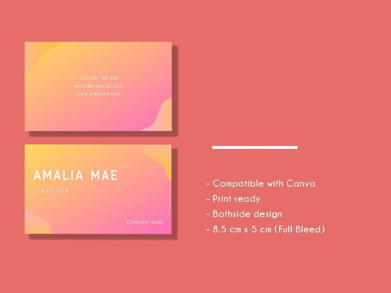 Simple Gradient Business Card branding babypink pink business card templates business card business card template white indesign minimal icon illustration card template logo businesscards elegant cards design template business simple