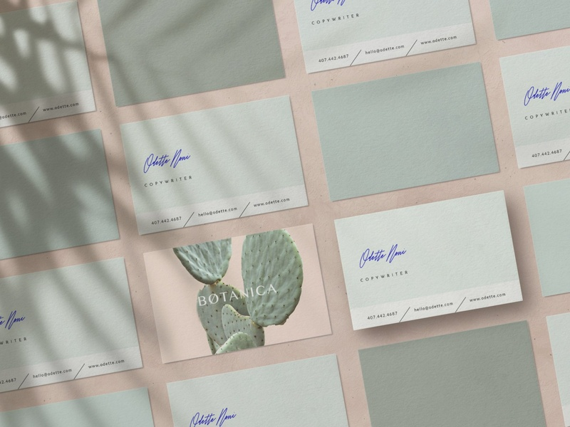 Stylish Business Card • Odette garden pink botanical business card templates business card business card template white indesign minimal icon illustration card template logo businesscards elegant cards design template business stylish business
