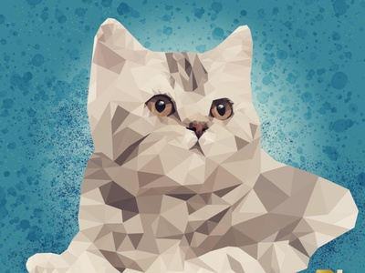 Low Poly Cat icon artist adobeillustator branding art design minimal identity character illustration