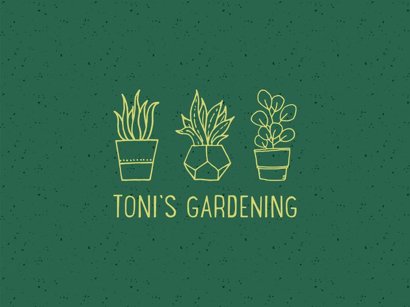Toni's Gardening | Logo Reversed texture gardening plants illustration colour icon mark graphic design brand design type typography logo branding