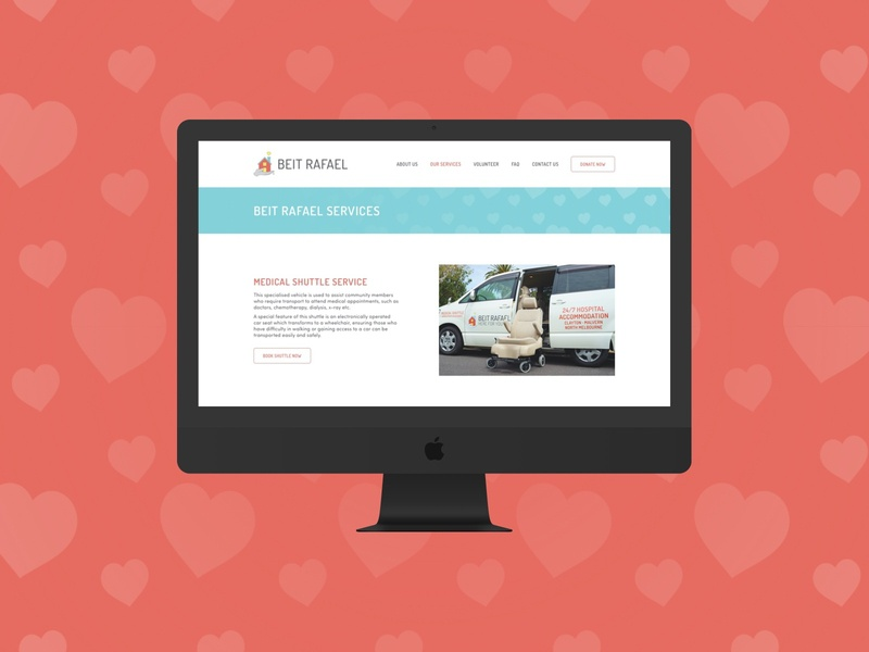 Beit Rafael | Website community medical shuttle hospital accommodation heart web designer ux design ui design web design website colour graphic design brand design type typography logo branding