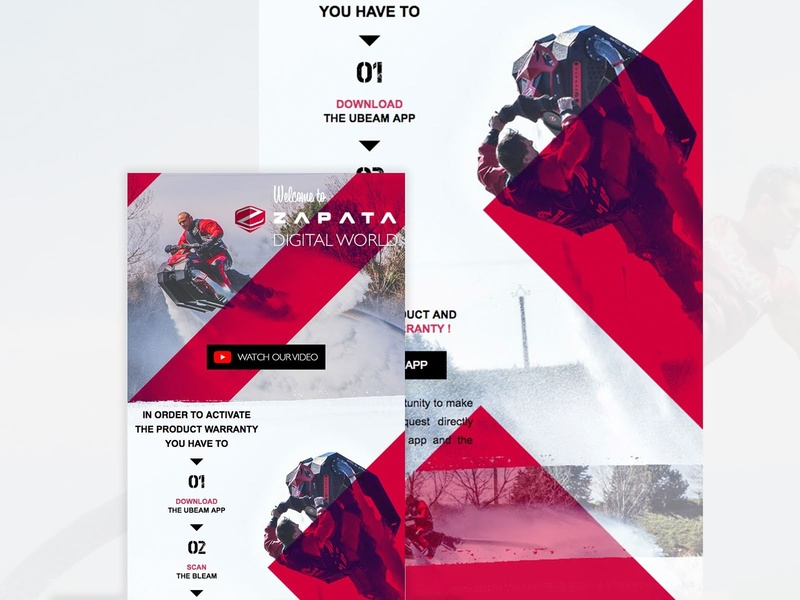 Newsletter Product Warranty for Zapata agency web ui webdesign fly french france inventor digital red water air zapata flyboard sport adventure ux warranty newsletter design