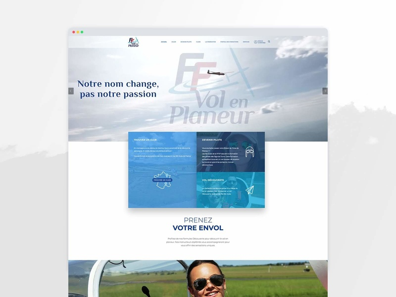 French Glider Federation Website french ux design blue award brandagency digital website plane cloud air sky glider wordpress france design agency web ui ux webdesign