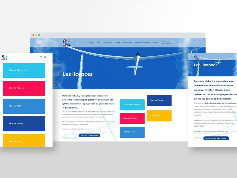 French Glider Federation Licences Page agency branding altitude national air sky plane glider website french colors cards wordpress digital agency webdesign web ui ux france design