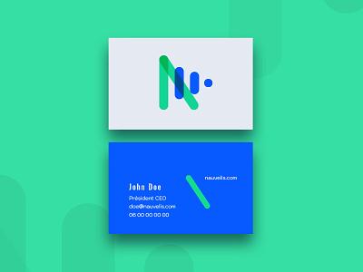 Nauvelis Carte De Visite carte publicom agence agency vector design france monogram pictogram startup iot carte de visite green blue bicolor business card nauvelis