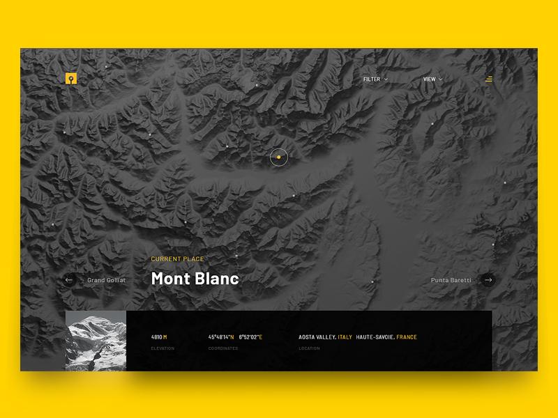 Mountains Explorer explorer pins mountains app ui design user user inteface ux interface gui design ui