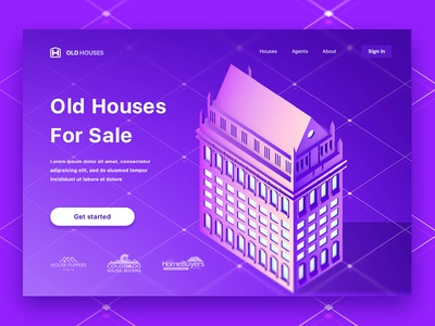 Old Houses For Sale Landing Page concept realty sale landing isometric houses 3d illustration hero