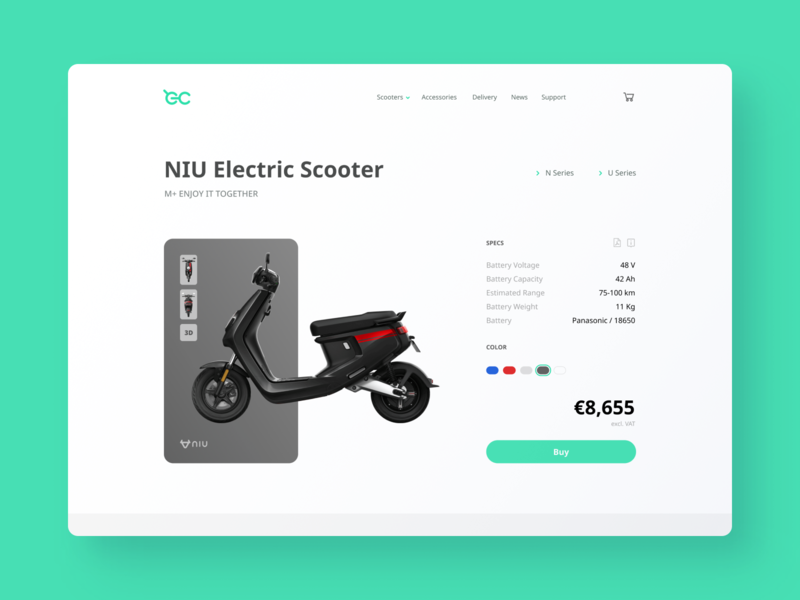 Electric Scooter Store cart electric product scooter store webpage web design clean ui