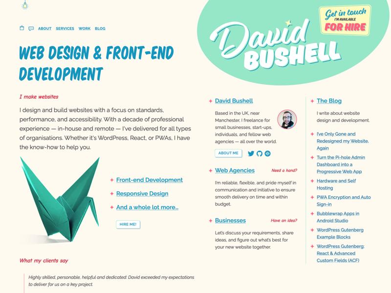 dbushell new design branding design typography responsive design css responsive website web design web