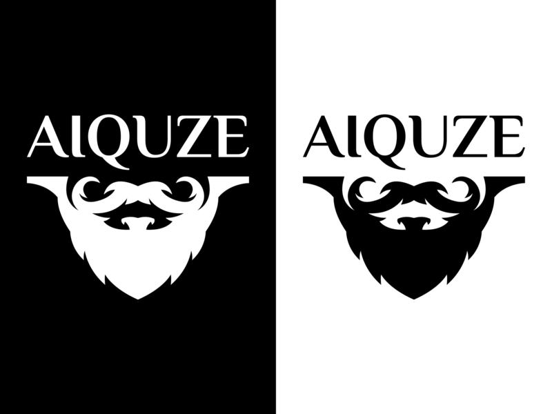 AIQUZE logo mark logotype badge design mascot logo badge symbol lettering typogaphy type design branding vintage illustration character barber vector man logo beard barbershop