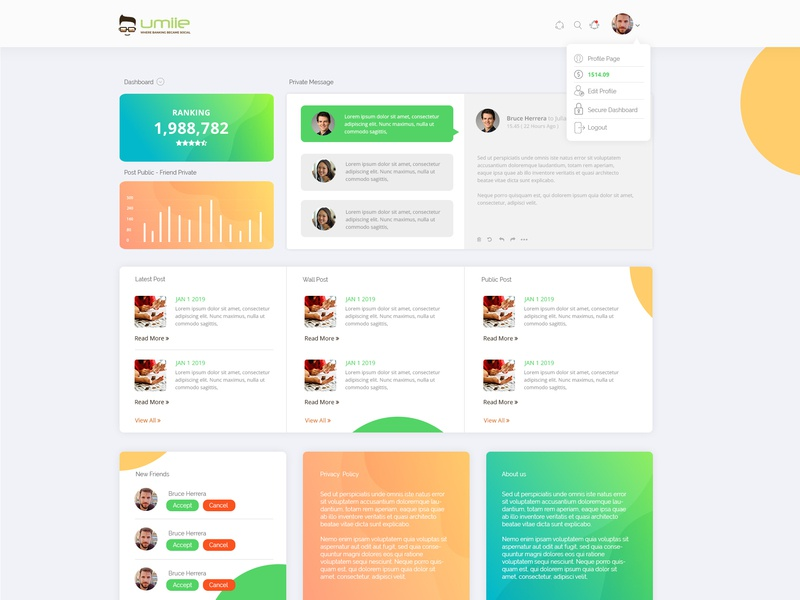 Umiie Dashboard Design 2018 illustration ui ux design uidesign ui ux