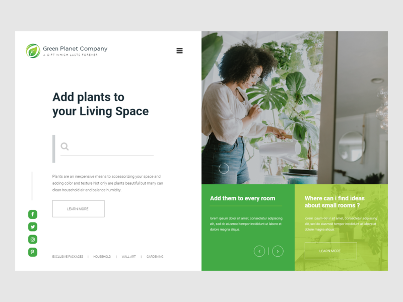 Green Plant Company Landing Pages mockup webdesign ux design ux desgin uidesign ui ux design
