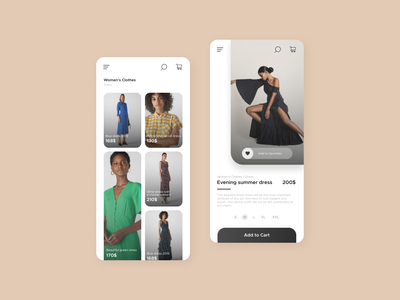 Clothing Store Application mobile ui mobile design design mobile app design clothes application app design shopping app app women shopping shop