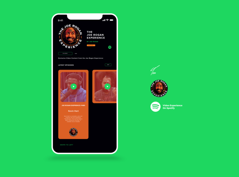 Spotify Video x Joe Rogan Experience vector illustration re-brand concept adobexd app concept design app design dribbble mockup mobile web podcast spotify