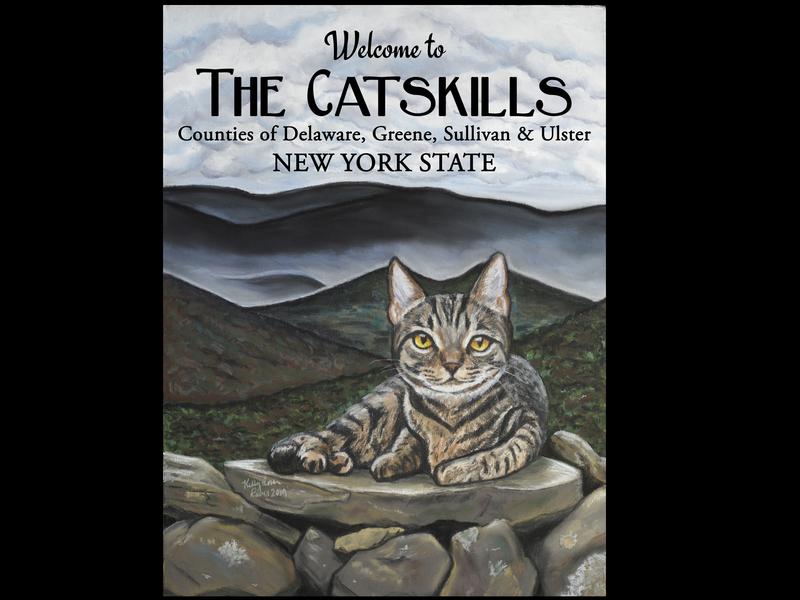 Catskill Cat Poster - Fine Art art illustration mountains cat tourism poster pastels fineart handdrawn