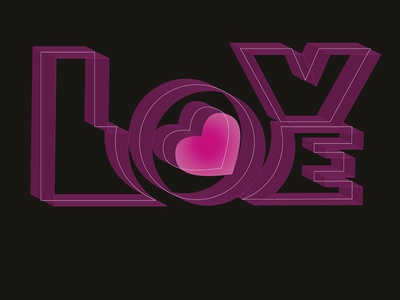Love heart pink red vector graphic design wordart lettering typography love