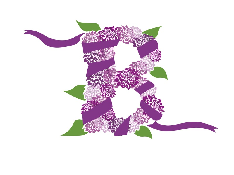 The Letter B typography purple lettering florals