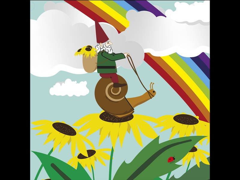 Riding the Storm Out colors graphicdesign personal project adobeillustator flowers snail illustration rainbows gnomes hope