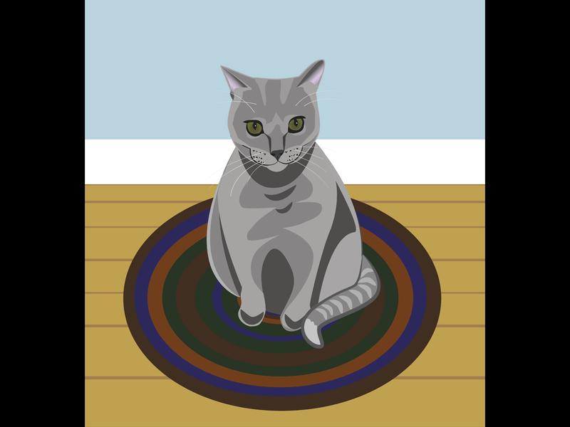 Kitty hudson valley albanyny pets illustrator vector pet animal kitten tiger grey cat