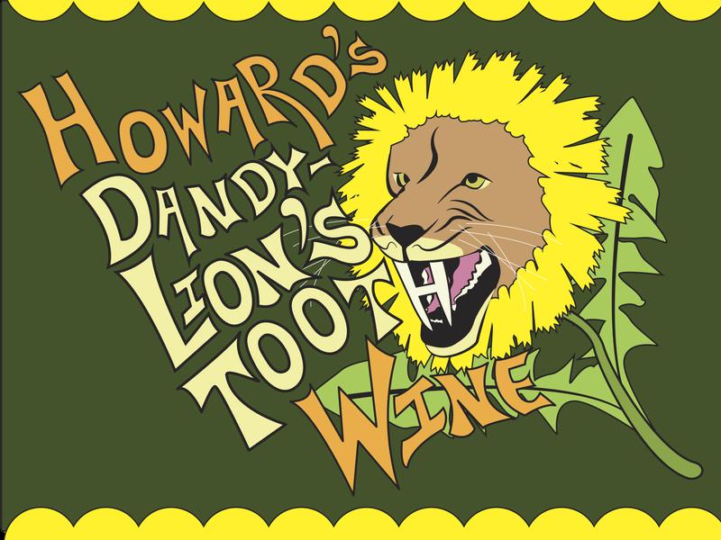 Lion's Tooth Wine hireme alcohol hudson valley albanyny dandilion flower typography vectorart illustration cats lion branding graphic design label wine label
