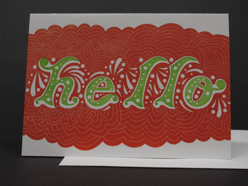 Hello Letterpress Greeting Card aigaupstateny adobe illustrator aiga green orange greetingcard lettering typographic typography graphicdesign vectordesign printingpress vandercook hello printing letterpress