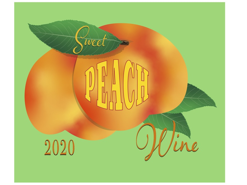 Peach Wine Label labeldesign freelance graphicdesign aiga upstate new york aiga adobe illustrator branding illustration hire me wine fruit product labeling vector illustration typography peach wine label design