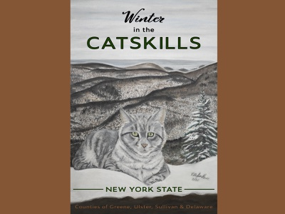 Winter Catskill Cat illustration handdrawn snow winter posters graphicdesign posterdesign mountains catskills cats catskill mountains tourism travel